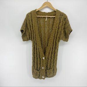 Free People Knit Cardigan Olive Green Medium